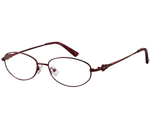 EyeBuyExpress Women Reading Glasses Reader Cheaters Stainless Steel Burgundy +3.75