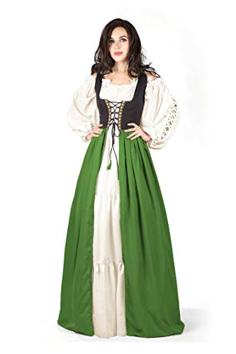 Renaissance Pirate Wench Irish Costume Two-Toned Over Dress & Gaelic Chemise (Olive, (Wenches Fancy Dress Costume)