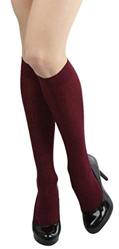 ToBeInStyle Womens Pack of 6 Knee High Trouser Socks - Burgundy - One Size (Knee High Burgandy Socks)