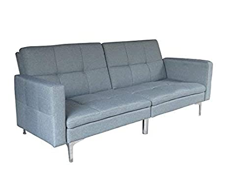 finest selection 160f8 ae5df ViscoLogic Elite Split Back Convertible Futon Sofa Bed Love Seat (Dark Grey)