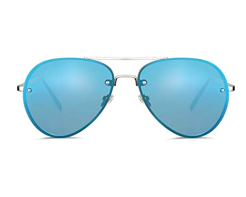 Freckles Mark Oversize Aviator Sunglasses Women Men 62mm Gold Metal Mirror Clear (Reflective Blue, 62mm)