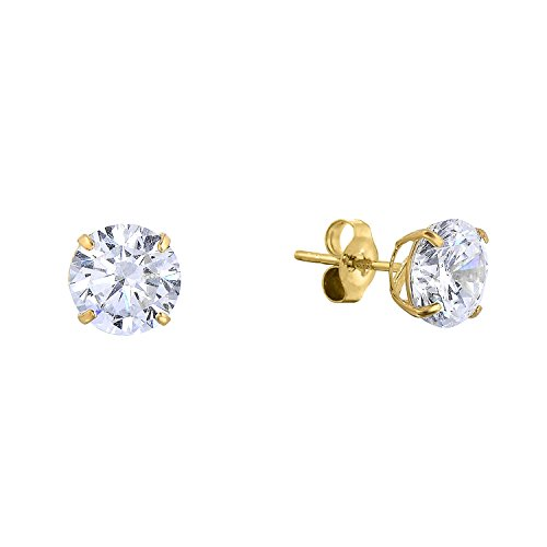 14k Gold Birthstone Stud Earrings - 14k Yellow Gold Solitaire Round Cubic Zirconia CZ Stud Earrings with Gold butterfly Pushbacks (5mm)