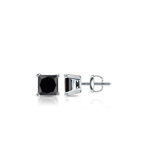 14k White Gold Men's Princess-cut Black Diamond 4-Prong Basket Stud Earrings (1 ct, Black) by Diamond Wish