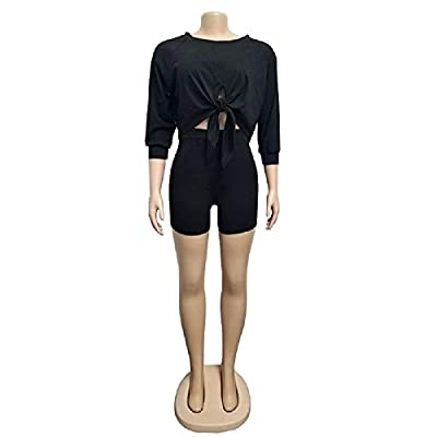 Acelitly Women's 2 Piece Outfits Long Sleeves Crop Top + Bodycon Shorts Jumpsuit Set: Clothing