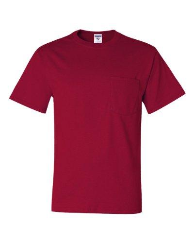 Jerzees 5.6 oz., 50/50 Heavyweight Blend Pocket T-Shirt, Large, TRUE (Chest Pocket Cotton T-shirt)