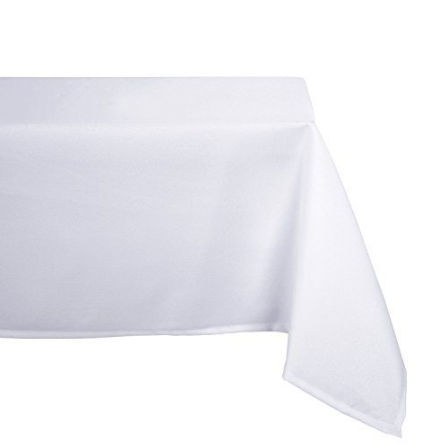 Deconovo Solid Oxford Rectangular Water & Wrinkle Resistant Tablecloth for Dining Room 60 x 84 Inch White by Deconovo
