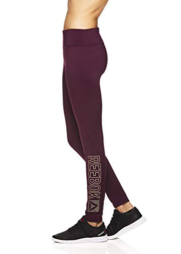 Reebok Women's Fleece Lined Leggings - Cold Weather Workout Running & Gym Athletic Tights Full Length Performance Compression Pants - Pop Nouveau Potent Purple, Small