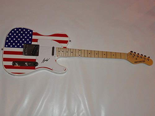 Hank Williams Jr Autographed Signed Usa Flag Electric Guitar Legend Rare Tele Jr. JSA Authentic
