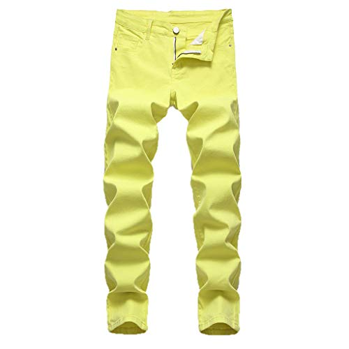 - ✿HebeTop✿ Men's Ripped Skinny Distressed Destroyed Slim Fit Stretch Biker Jeans Pants with Holes Yellow