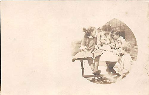 People and Children Photographed on Postcard, Old Vintage Antique Post Card 4 Kids with a cat Mary Jan 1913 Writing on back
