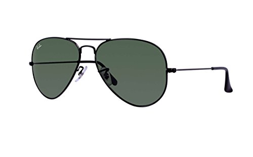 Ray Ban RB3025 Aviator Sunglasses Unisex (58 mm Black Frame Solid Black G15 Lens, 58 mm Black Frame Solid Black G15 - Ban Womens Black Ray Aviators