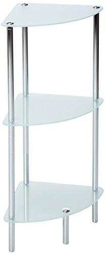 EVIDECO 9830102 3 Tier Bathroom Glass Corner Shelf Tower Chr