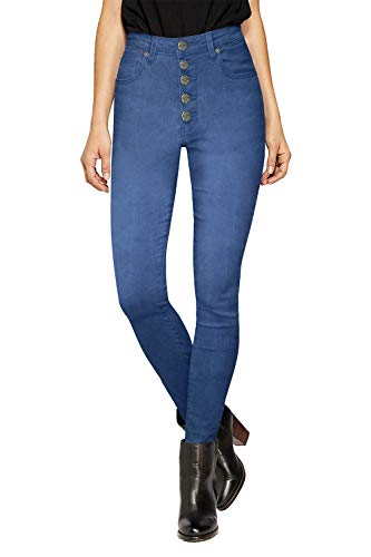 HyBrid & Company Womens Super Stretch 5 Button Hi Waist Skinny Capri P43240SK Blue Acid 1 (Acid Wash High Waist Jeans)