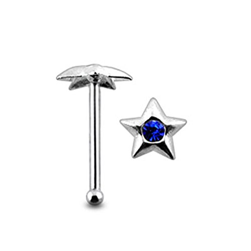 Dark Blue Jeweled Star Top 22 Gauge - 6MM Length Silver Ball End Nose Stud Nose Piercing ()