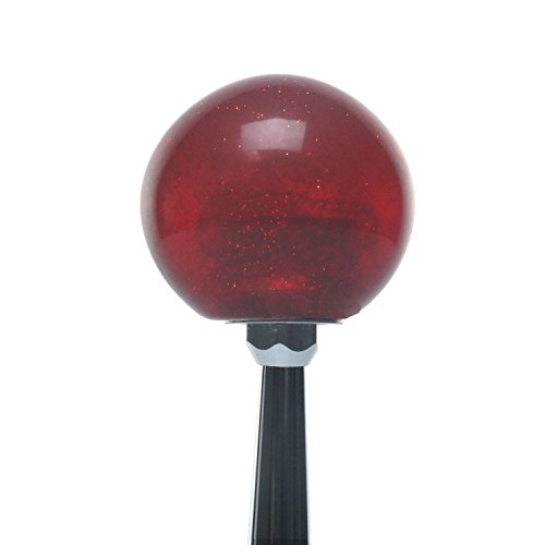 Green Gun Outline w/ Bullet Holes Red Metal Flake Shift Knob with 16mm x 1.5 Insert