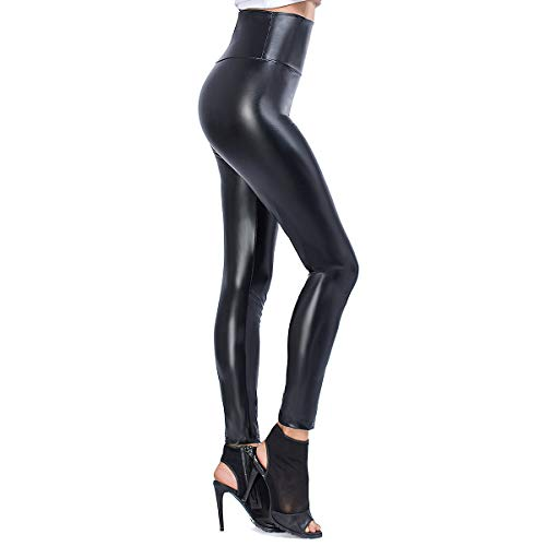 JTANIB Womens Faux Leather Leggings Pants, Sexy High Waisted Stretchy Shaping Hip Push Up Tights Black XL