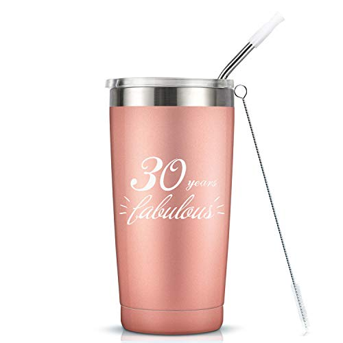 30 Years Fabulous - 30th Birthday Gifts For Women - 20 Oz Vaccuum Insulated Stainless Steel Mug Tumbler with Lid, Funny Turning 30 Gift Idea for Women Her Girlfrend Wife Bestie Friend Ladies Gift (30 Small Gifts For 30th Birthday For Her)