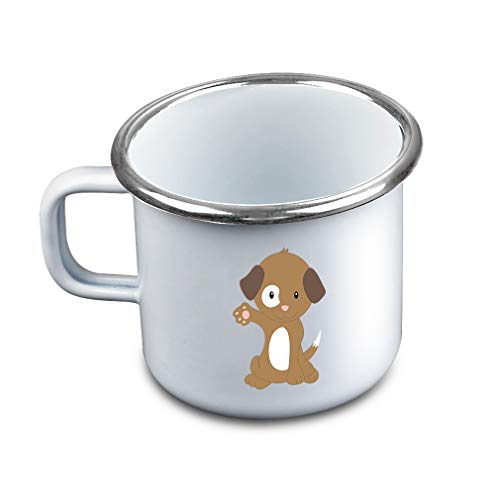 Brown White Puppy Waves Metal Camping Mug Enamel Cup
