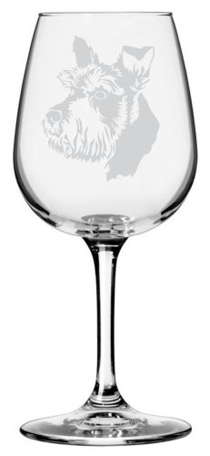 Schnauzer Dog Themed Etched All Purpose 12.75oz Libbey Wine Glass