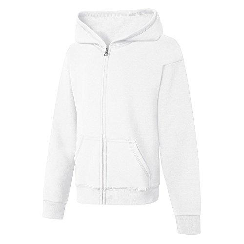 Hanes Big Girls' Comfortsoft Ecosmart Full-Zip Fleece Hoodie_White_L