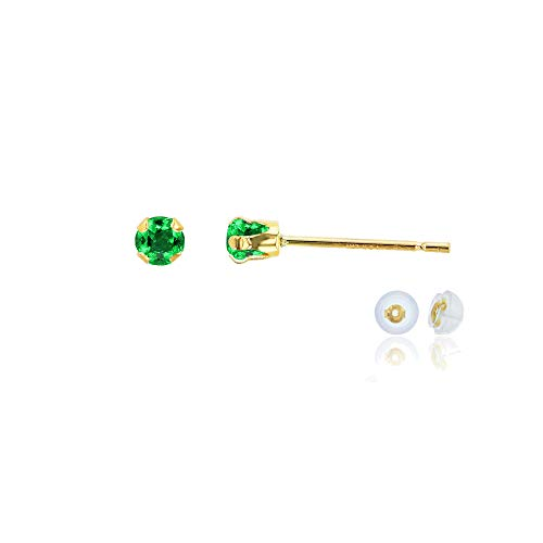 Genuine 10K Solid Yellow Gold 3mm Round Created Green Emerald May Birthstone Stud Earrings