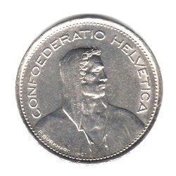 1968-B Switzerland 5 Francs Coin KM#40a.1