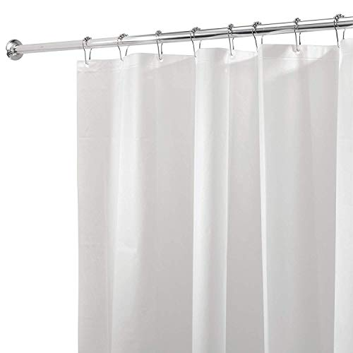 iDesign PEVA Plastic Shower Bath Liner, Mold and Mildew Resistant for use Alone or with Fabric Curtain for Master, Kid's, Guest Bathroom, Standard, White, Pack of 5