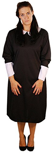 Halloween-Creepy-Evil- WEDNESDAY GIRL Child's Costume, Long Black Dress with White Collar and Cuffs - All Children's Sizes (TEEN) ()