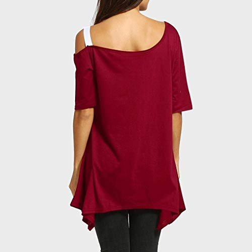 Mode lgant paules T Femme Nues Chemisier Casual Shirt breal Modle Blouse Irrgulier Col Sling Impression O Shirts Et Manches Chic Branch T Courtes Winered 6EqAwqd