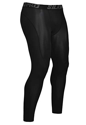 SILKWORLD Men's Compression Pants Cool Dry Baselayer Workout Running Tight Leggings (Pack of 1), Black, Medium (Direction One Leggings)