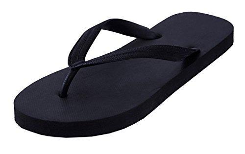 Feisco Top Quality Men Women Rubber Flip Flops Thong Sandal Beach Slipper (6 B(M) US, Black)