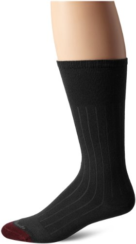 Allen Edmonds Men's Cotton Rib Mid Calf Socks, Charcoal, X-Sock Size:10-13/Shoe Size: 6-12/Standard from Allen Edmonds