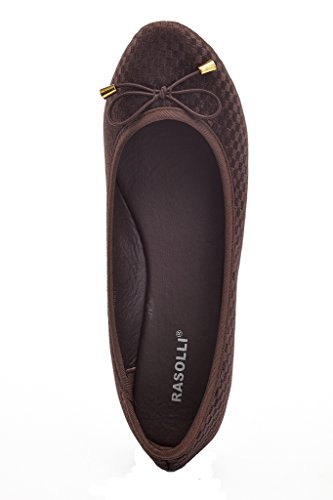 Rasolli Womens Velluto Ballerina Metallo Decori Accento Nodo Nodo Slip On Balletto Punta Rotonda Appartamenti Comfort Brown1