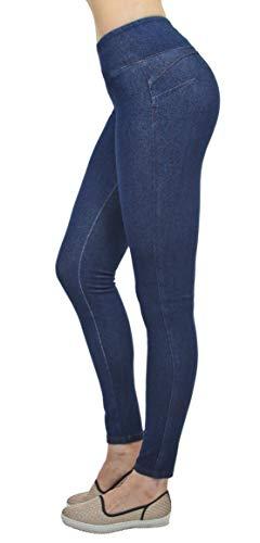 Shaping Pull On Butt Lift Push Up Yoga Pants Stretch Indigo Denim Skinny Jeans in Indigo Stone Size M