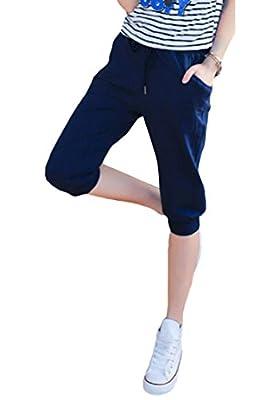 Pink Queen® Women's Casual Drawstring Cuffed Cropped Pants Capri Joggers