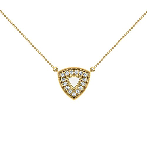 - 0.29 ct Diamond Triangle or Trillion Necklace 14K Yellow Gold (P0194)