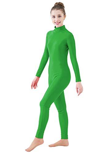 Ensnovo Womens Turtleneck Spandex Long Sleeve Front Zipper Footless Unitard Green,M]()
