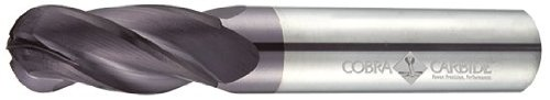 Cobra Carbide 23818 Micro Grain Solid Carbide Long Length General End Mill, TiAlN Coated, 4 Flute, 30 Degrees Helix, Ball Nose End, 3'' Cutting Length, 3/4'' Cutting Diameter, 6'' Length (Pack of 1) by Cobra Carbide