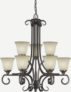 Forte Lighting 2302-09-32 9-Light Traditional Chandelier, Antique Bronze Finish with Umber Mist - Umber Bronze