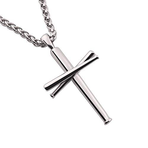 RMOYI Cross Necklace Baseball Bats Athletes Cross Pendant Chain,Sport Stainless Steel Cross Necklaces for Men Women Boys Girls,Small and Large Silver 24 Inches