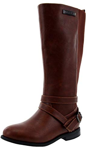 Nautica Girls Youth Knee High Fashion Riding Boots-Everes-Cognac-3