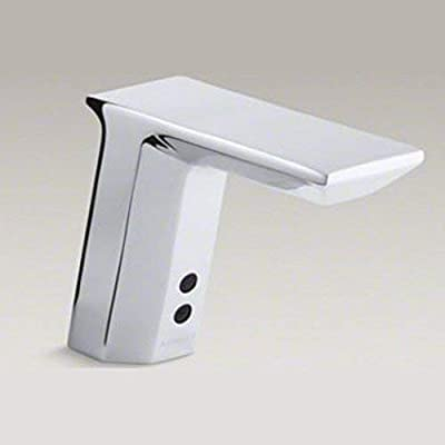 Kohler K13466CP Geometric Battery-Powered Touchless Bathroom Faucet, Polished Chrome