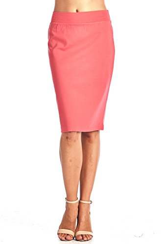 ReneeC. Women's Bodycon Fitted Elastic Waist Midi Office Skirt (Medium, Coral)