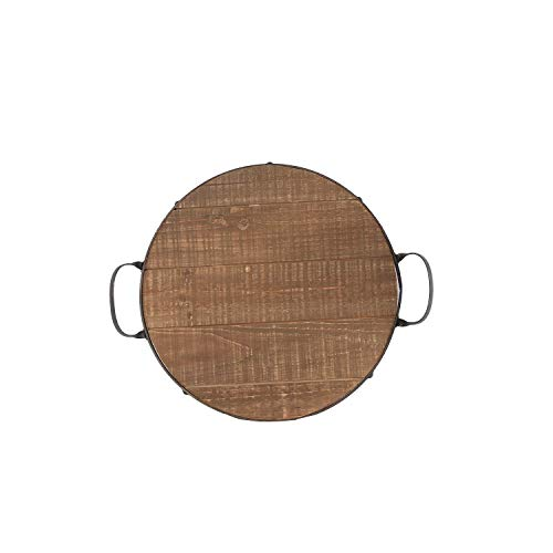 NIKKY HOME Vintage Iron and Wood Round Serving Tray for Kitchen
