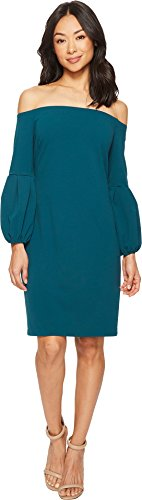 One Shoulder Bubble (Vince Camuto Womens Off Shoulder Bubble Sleeve Crepe Ponte Dress Dark Peacock XL One Size)