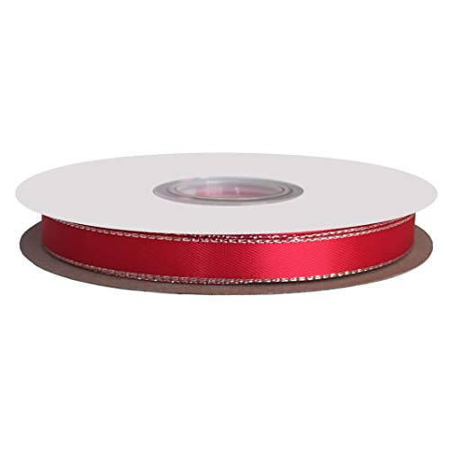 DUOQU 1/4 inch Wide Double Face Silver Metallic-Edge Satin Ribbon 50 Yards Roll Red