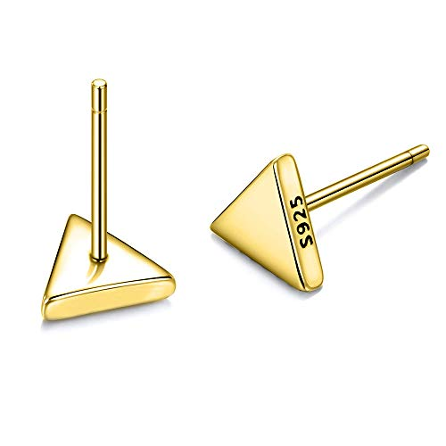18K Gold Plated Minimalism Stud Earrings Sterling Silver Tiny Triangle Earrings for Women Everyday Wear ()