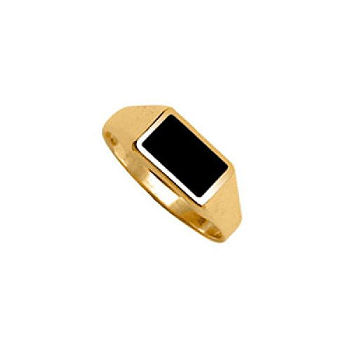 meil - Silver Gilt (18k Gold over 925 Sterling Silver) Black Onyx Rectangle Signet Ring - Size 9 ()