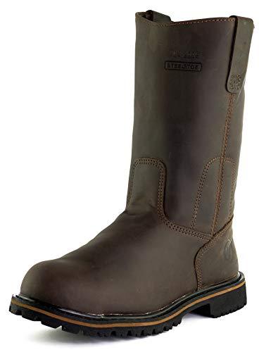 Westland Men's Texan Steel Toe EH Water Resistant Wellington Leather Work Boots (9) Coffee Brown