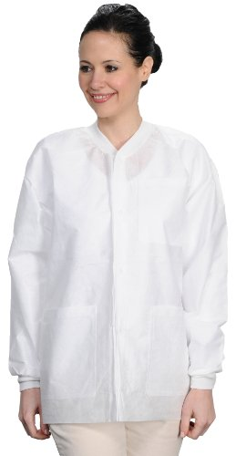 ValuMax 3530WHXL Easy Breathe Cool and Strong, No-Wrinkle, Professional Disposable SMS Hip Length Jacket, White, XL, Pack of 10 by Valumax (Image #1)